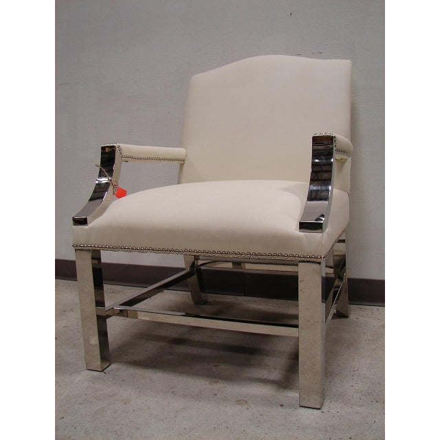 Image of Bernhardt White Vinyle and Chrome Chair