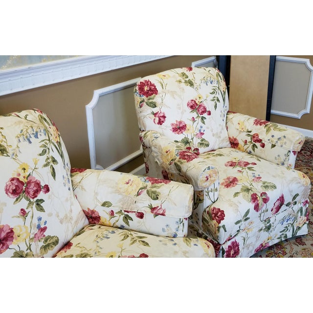 Ethan Allen Floral Upholstered Armchairs #20-7555- a Pair - Image 7 of 11