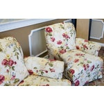 Image of Ethan Allen Floral Upholstered Armchairs #20-7555- a Pair