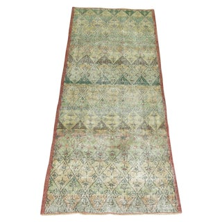 Green Turkish Deco Runner Rug - 3'2'' X 8'5''