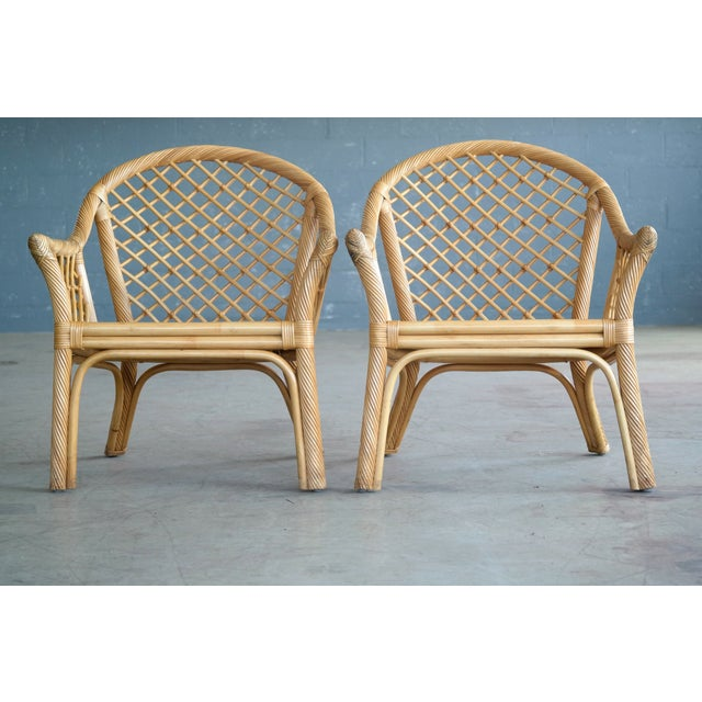 Mid Century Modern Danish Rattan Armchairs - a Pair - Image 6 of 11
