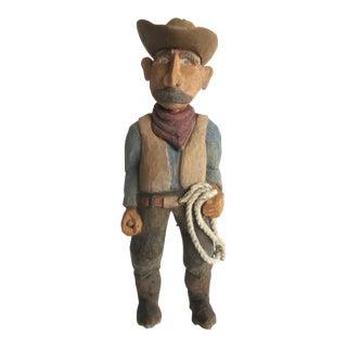 Vintage Cowboy Folk Art Statuette