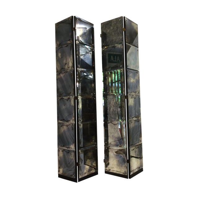 Mid-Century Modern Mirrored Four-Panel Screen - Image 1 of 11