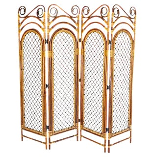 Bamboo Four Panel Room Screen