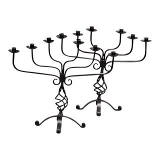 Pair Large French Six Light Black Hand Forged Iron Candelabra