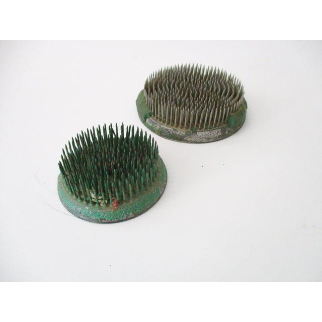 Image of Green Cast Iron Flower Holder - A Pair
