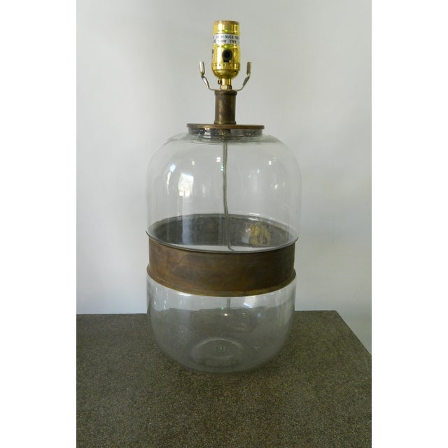Glass Lamp With Metal Ring - Image 3 of 4