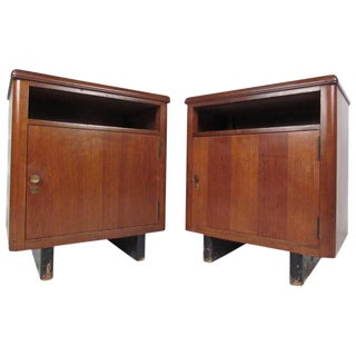 Mid-Century Nightstands With Finished Back - a Pair