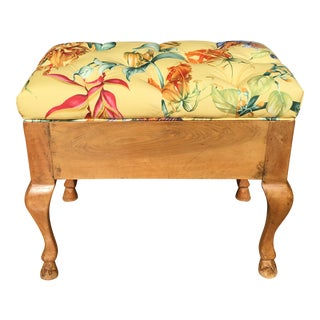 Antique Biedermeier Footstool With Yellow Floral Seat
