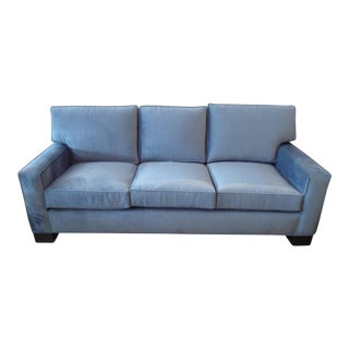 Baker Custom Upholstered Blue Velvet Sofa