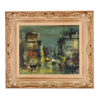St. Martin, Paris 1960s Street Scene Oil Painting by Jean Fabert