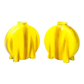 Minton Pottery Yellow-Glazed Moon Flasks - A Pair