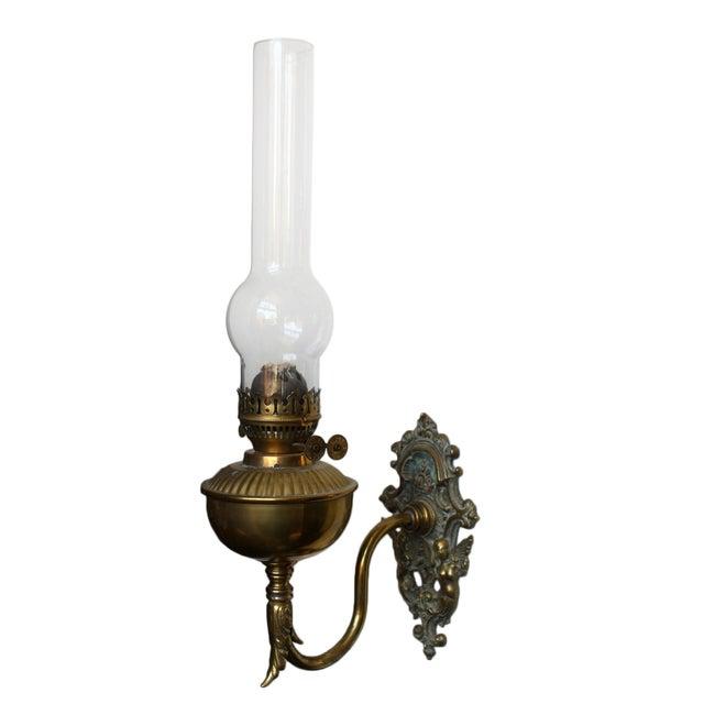 Wall Bracket Kerosene Lamp : Brass Wall Bracket Oil Lamp Chairish