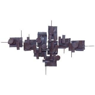 Mid Century Torch Cut Steel Wall Sculpture