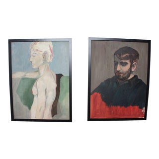 Vintage Portrait Paintings- A Pair