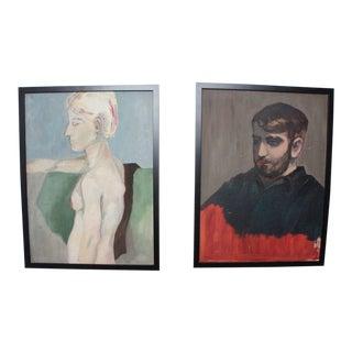 Vintage Portrait Paintings- A Pair