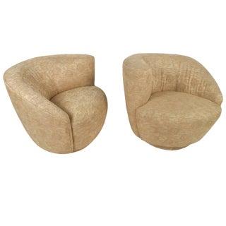 Mid-Century Modern Vladimir Kagan Style Corkscrew Swivel Chairs - a Pair