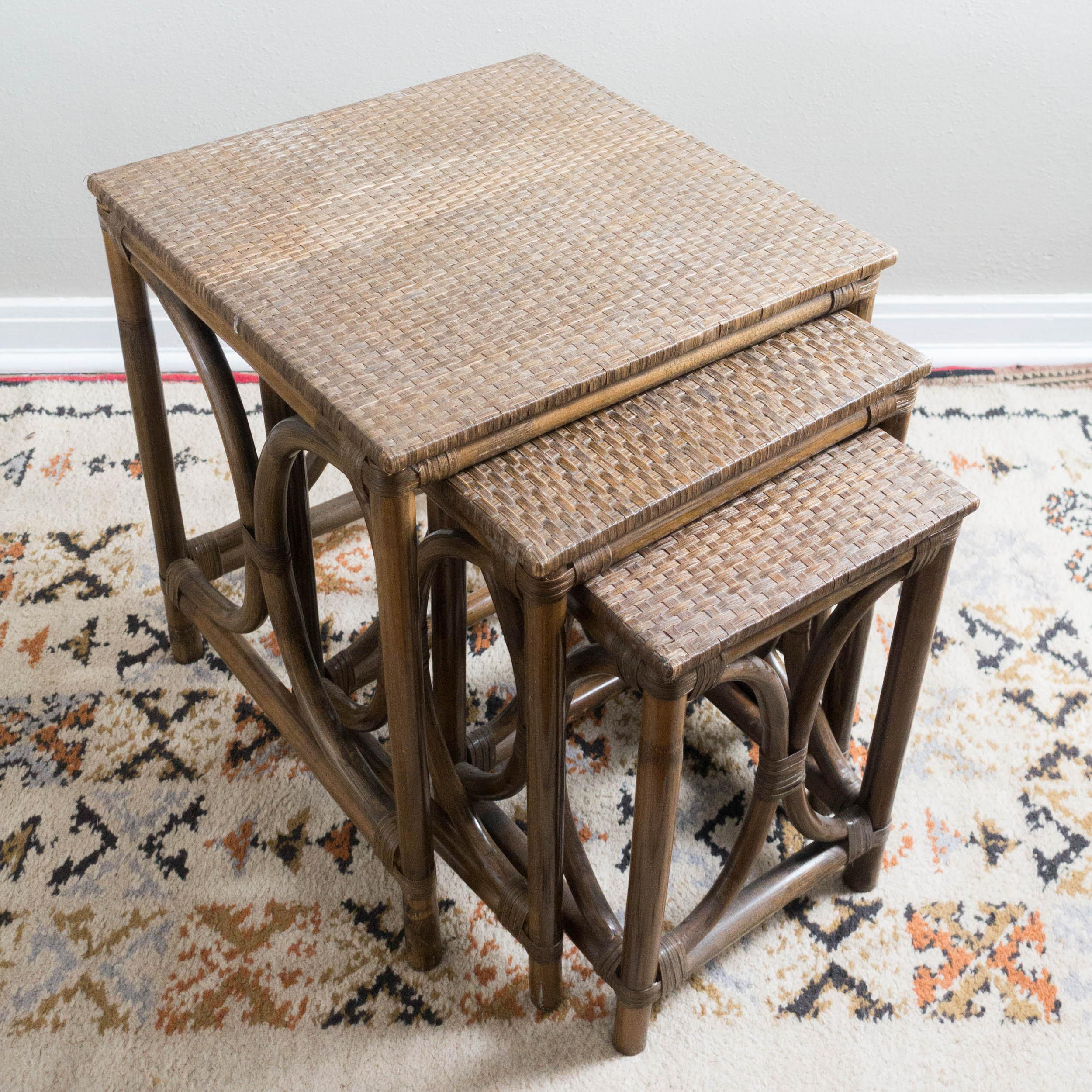 Vintage Rattan Nesting Tables   Set Of 3   Image 5 Of 5