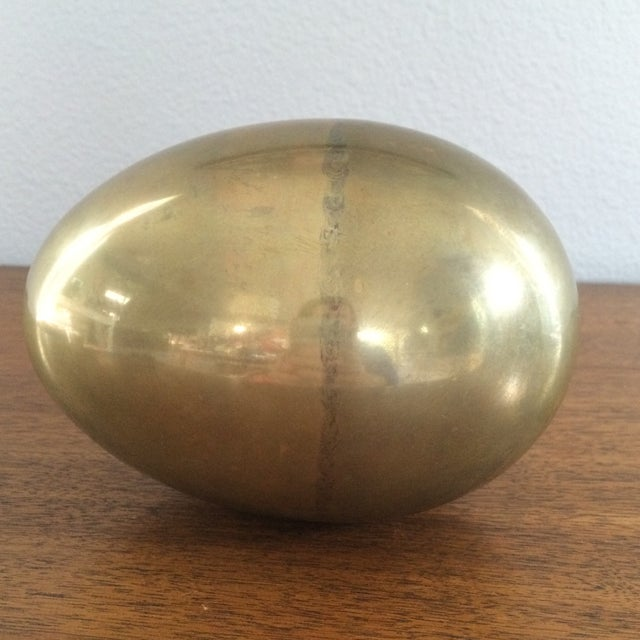 Image of Vintage Brass Egg on 3 Swan Stand