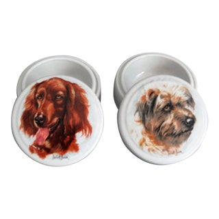 English Dog Trinket Boxes, Set of 2