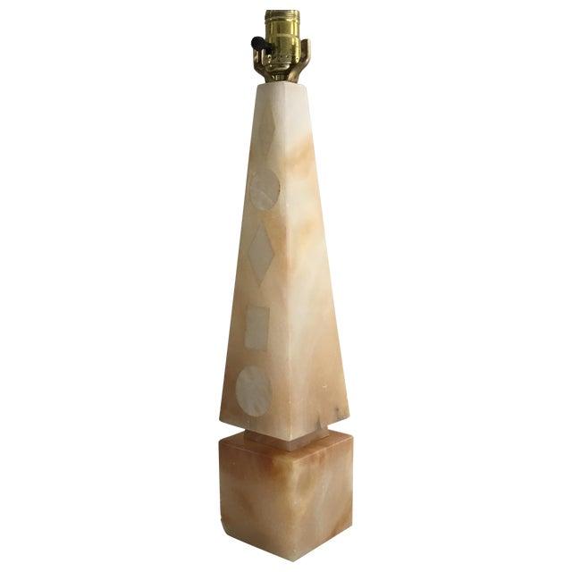 Image of Mid-Century Obelisk Marble Lamp