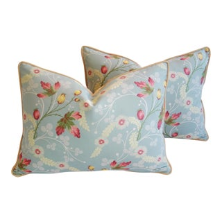 Custom Powder Blue Scalamandré Floral Brocade Pillows - A Pair