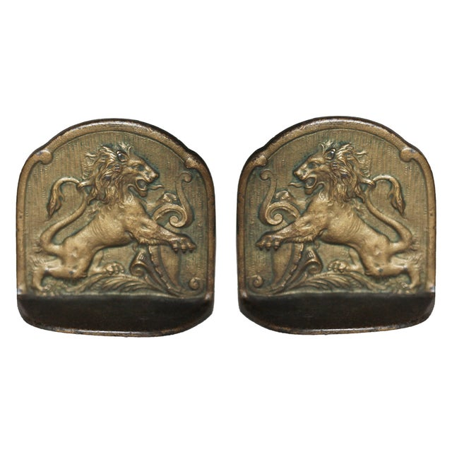 Image of European Antique Brass Bookends