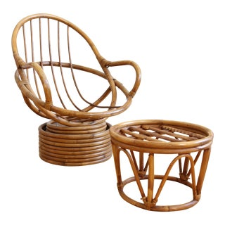 Mid-Century Swivel Rattan Bamboo Pod Chair & Ottoman