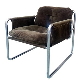 Mid-Century Modern Chrome Corduroy Lounge Chair