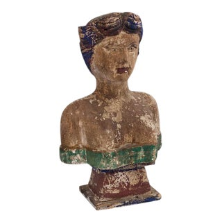 Carved Wooden Polychrome Bust of Woman