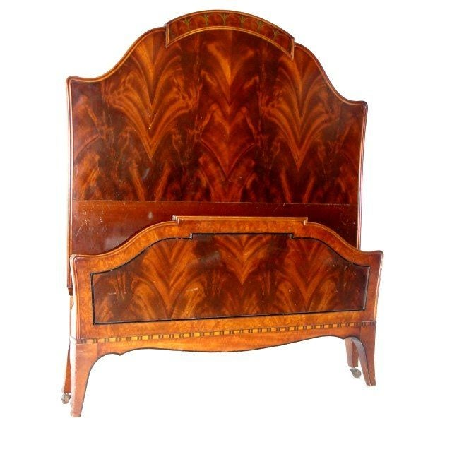 Twin Mahogany Flame Headboards - A Pair - Image 2 of 7