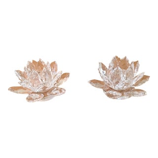 Crystal Lotus Candle Holders - A Pair