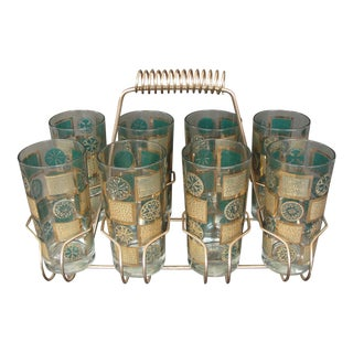 Mid-Century Tumblers With Rack - Set of 9