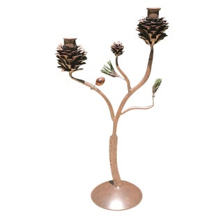 Vintage Autumnal Bronze Pinecone Double Candleholder