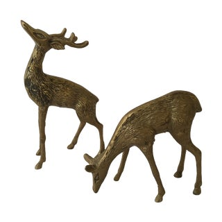 Vintage Brass Deer- A Pair