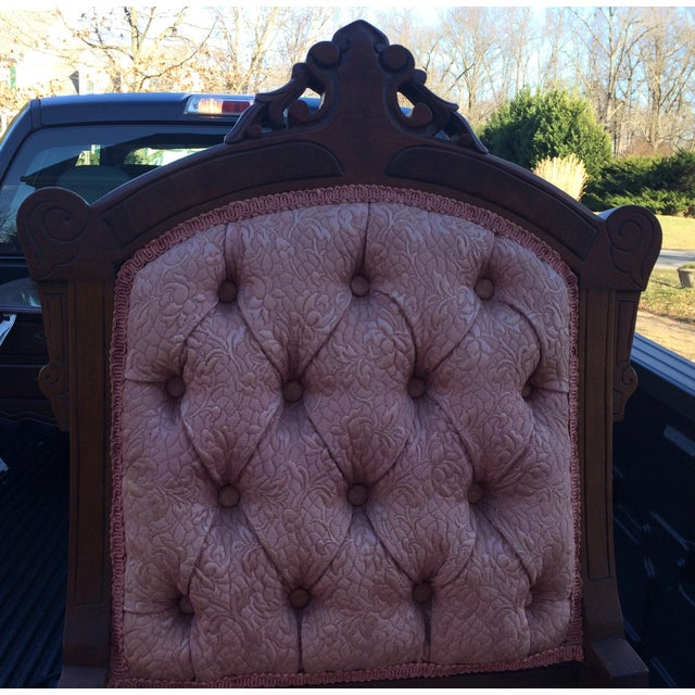 Vintage Victorian Chairs, Pink Upholstery - Pair - Image 3 of 9