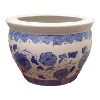 Blue & White Floral Fishbowl Planter Cachepot