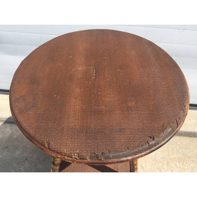 Image of 1930s English Scorched Bamboo & Rattan Round Table