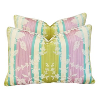Clarence House Anjou Fabric Silk Feather/Down Pillows - a Pair