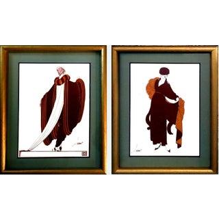 Art Deco Erte-Style Fashion Lithographs - A Pair