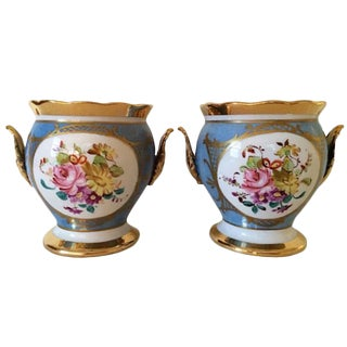 French Porcelain Cachepots - A Pair