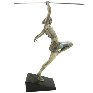 Art Deco Style Silver Finished Bronze Female Roman Warrior with Spear on Marble