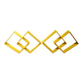 Mid Century Shelves Yellow Geometric Frames, a pair