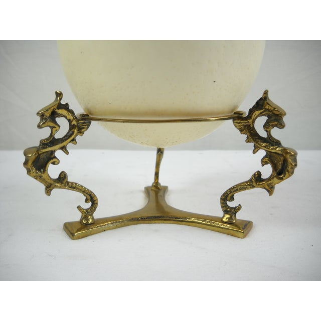 Image of Ostrich Egg on Brass Griffin Stand