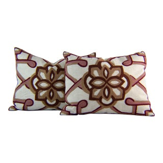 Kim Seybert Crewel Embroidered Throw Pillows - A Pair