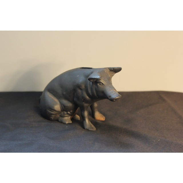 Vintage Cast Iron Pig Piggy Bank - Image 2 of 4