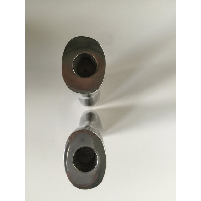 Image of Modern Pewter Candlesticks - A Pair