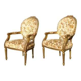 Vintage French Provincial Rococo Gold Chairs - A Pair