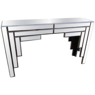 Sculptural Mirrored Console Table