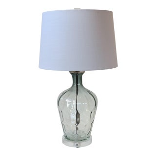 Light Platinum Grey/Clear Faceted Glass Lamp